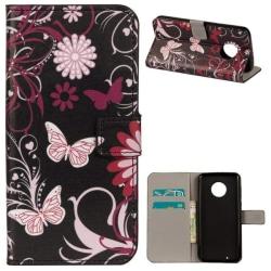 Plånboksfodral Motorola Moto G6 - Svart med Fjärilar