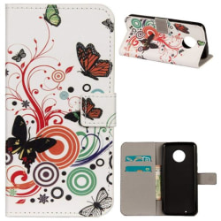 Plånboksfodral Motorola Moto G6 - Vit med Fjärilar