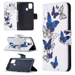 Plånboksfodral Samsung Galaxy A21s – Blåa och Vita Fjärilar