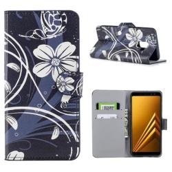 Plånboksfodral Samsung Galaxy A6 (2018) - Svart med Blommor