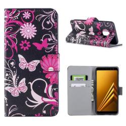 Plånboksfodral Samsung Galaxy A6 (2018) - Svart med Fjärilar