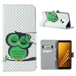 Plånboksfodral Samsung Galaxy A6 Plus - Prickigt med Uggla