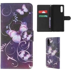 Plånboksfodral Samsung Galaxy A70 - Lila med Fjärilar