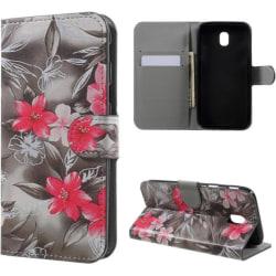 Plånboksfodral Samsung Galaxy J3 (2017) – Svartvit med Blommor