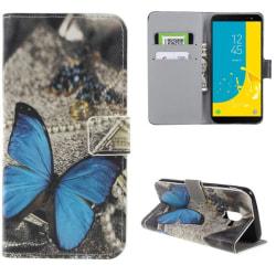 Plånboksfodral Samsung Galaxy J6 (2018) - Blå Fjäril