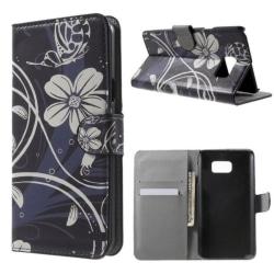 Plånboksfodral Samsung Galaxy Note 5 – Svart med Blommor