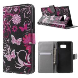 Plånboksfodral Samsung Galaxy Note 5 - Svart med Fjärilar
