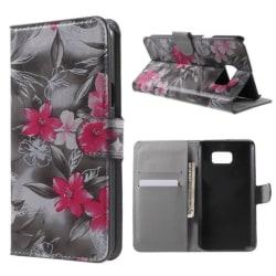 Plånboksfodral Samsung Galaxy Note 5 – Svartvit med Blommor