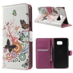 Plånboksfodral Samsung Galaxy Note 5 - Vit med Fjärilar