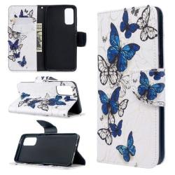 Plånboksfodral Samsung Galaxy S20 – Blåa och Vita Fjärilar