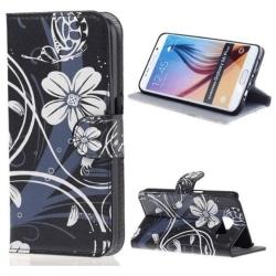 Plånboksfodral Samsung Galaxy S6 Edge Plus – Svart med Blommor
