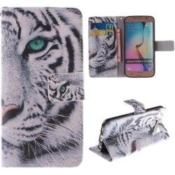 Plånboksfodral Samsung Galaxy S6 Edge – Vit Tiger
