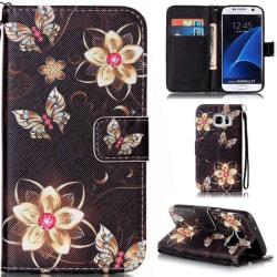 Plånboksfodral Samsung Galaxy S7 – Blommor i Guld