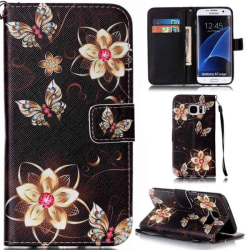 Plånboksfodral Samsung Galaxy S7 Edge – Blommor i Guld