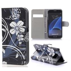 Plånboksfodral Samsung Galaxy S7 – Svart med Blommor