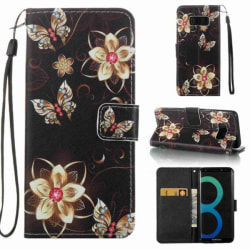 Plånboksfodral Samsung Galaxy S8 – Blommor I Guld