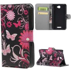 Plånboksfodral Sony Xperia E4 - Svart med Fjärilar