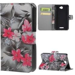 Plånboksfodral Sony Xperia E4 – Svartvit  med Blommor