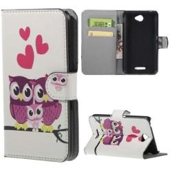 Plånboksfodral Sony Xperia E4 – Ugglor & Hjärtan
