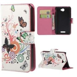 Plånboksfodral Sony Xperia E4 - Vit med Fjärilar