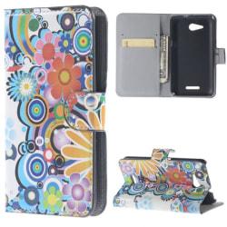 Plånboksfodral Sony Xperia E4g - Blommor & Cirklar