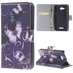 Plånboksfodral Sony Xperia E4g – Lila med Fjärilar