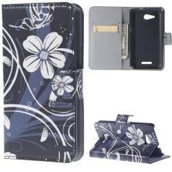 Plånboksfodral Sony Xperia E4g – Svart med Blommor