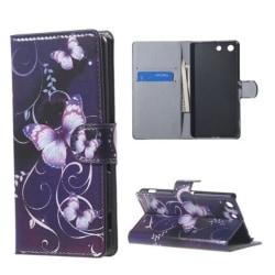 Plånboksfodral Sony Xperia M5 – Lila med Fjärilar