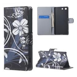 Plånboksfodral Sony Xperia M5 – Svart med Blommor