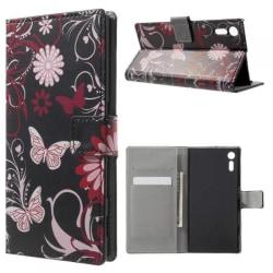 Plånboksfodral Sony Xperia XZ och XZs - Svart med Fjärilar