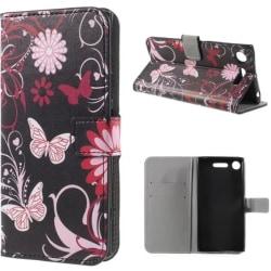 Plånboksfodral Sony Xperia XZ1 - Svart med Fjärilar