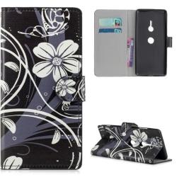 Plånboksfodral Sony Xperia XZ3 - Svart med Blommor