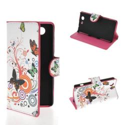 Plånboksfodral Sony Xperia Z3 Compact - Fjärilar & Blommor