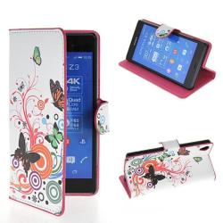 Plånboksfodral Sony Xperia Z3 - Vit med Fjärilar & Blommor