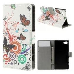 Plånboksfodral Sony Xperia Z5 Compact - Vit med Fjärilar