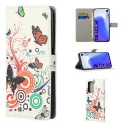 Plånboksfodral Xiaomi Mi 10T Pro - Vit med Fjärilar