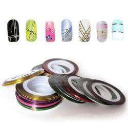 Nail art/dekortejp för naglar, 13 färger, [3pack] - #11 Grön