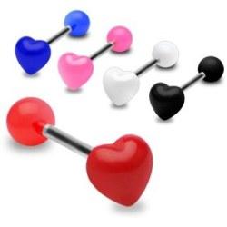 Barbell med UV hjärta Vit
