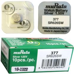 377 10-Pack SR626SW Murata Klockbatterier silveroxid 1.55V