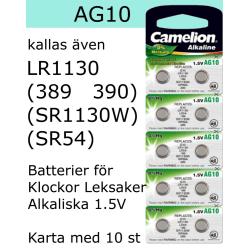 AG10 10-Pack Alk.1,5V Camelion LR1130 ( 389 SR1130W SR1130SW )
