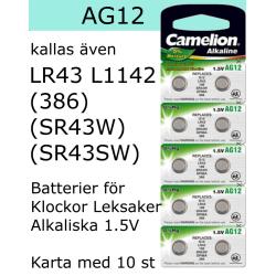 AG12 10-Pack Alk.1,5V Camelion LR43 ( 386 SR43W SR43SW )