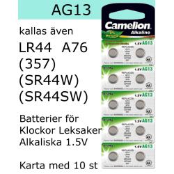 AG13 10-Pack Alk.1,5V Camelion LR44 ( 357 SR44W SR44SW )