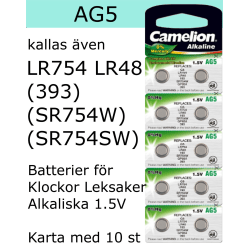 AG5 10-Pack Alk.1,5V Camelion LR754 ( 393 SR754SW  )