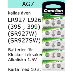 AG7 10-Pack Alk.1,5V Camelion LR926 ( 395 399 SR927SW  SR927W )
