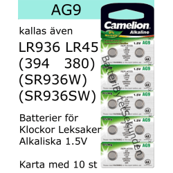 AG9 10-Pack Alk.1,5V Camelion LR936 ( 394 SR936SW )