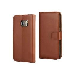 Fodral Äkta Läder / Plånbok - Samsung Galaxy S7 Brun