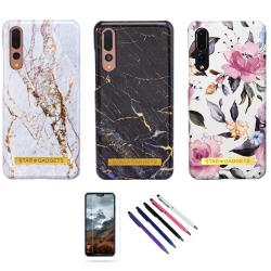 Huawei P20 Pro - Skal / Skydd / Blommor / Marmor Vit