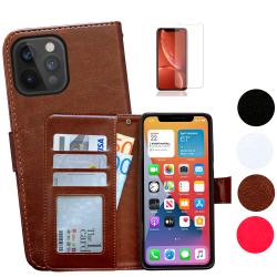 iPhone 12 Pro Max - Läderfodral / Skydd Svart