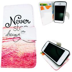 iPhone 5/5s/SE2016-Fodral/Plånbok Läder - Never Stop Dreaming.