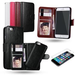 iPhone 6 / 6S - Plånboksfodral / Magnet Skal + Skärmskydd Svart